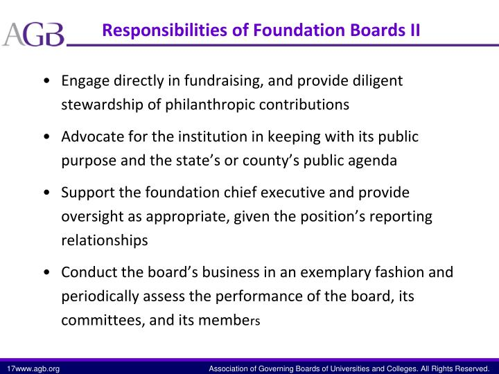 Responsibilities of Foundation Boards II