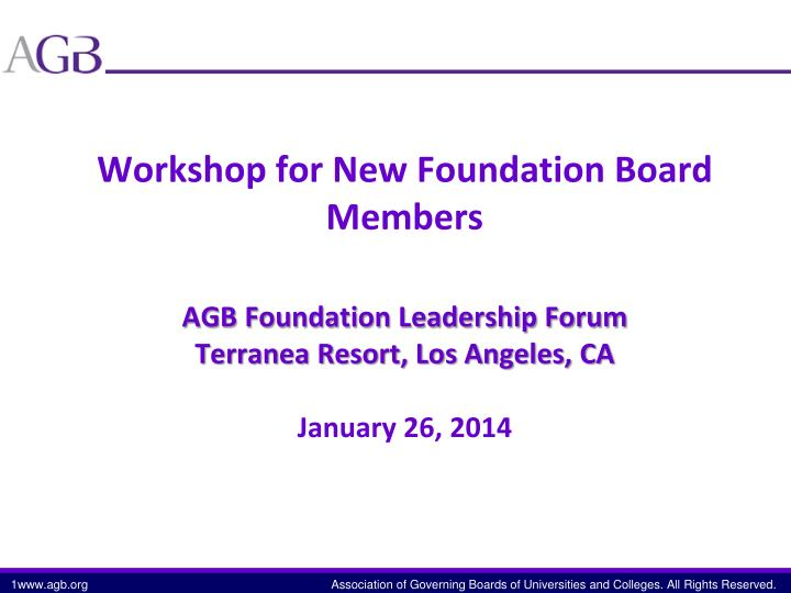 Workshop for New Foundation Board Members