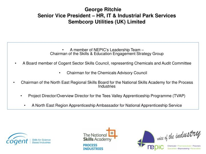 George ritchie senior vice president hr it industrial park services sembcorp utilities uk limited
