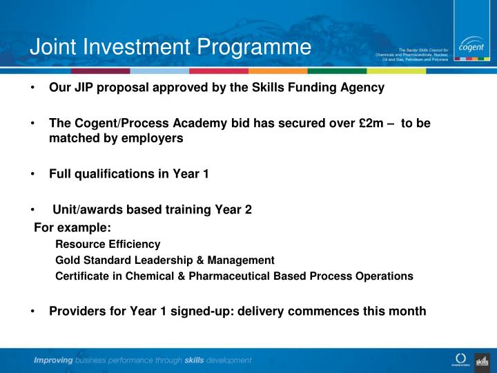 Joint Investment Programme
