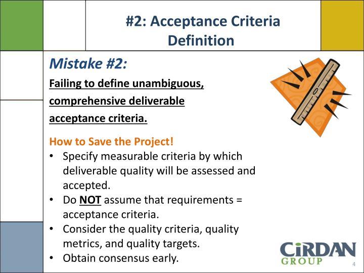 #2: Acceptance Criteria