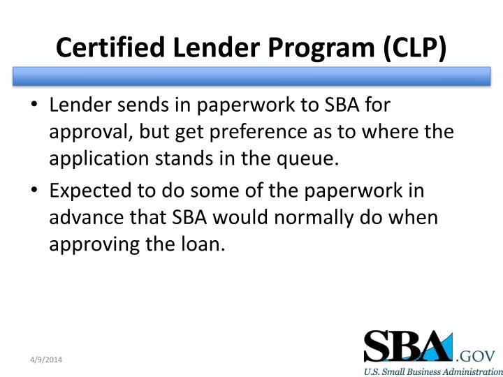 Certified Lender Program (CLP)