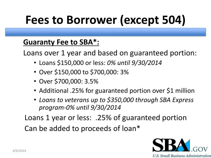 Fees to Borrower (except 504)