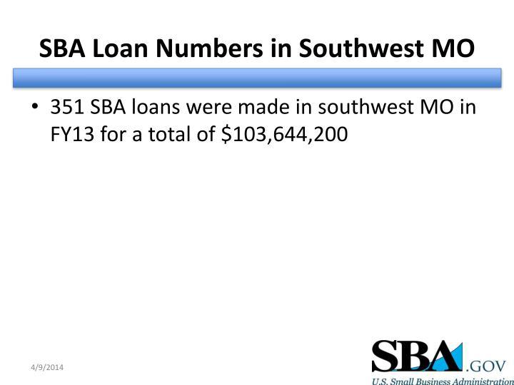 SBA Loan Numbers in Southwest MO