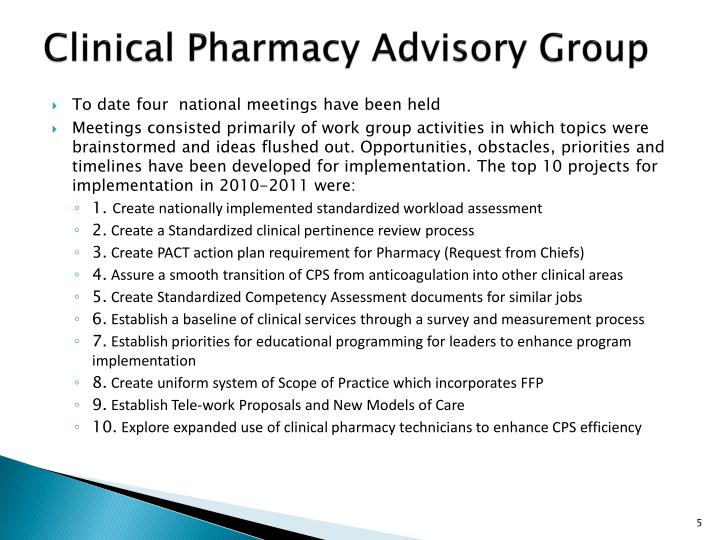 Clinical Pharmacy Advisory