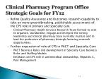 clinical pharmacy program office strategic goals for fy121