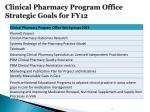 clinical pharmacy program office strategic goals for fy123