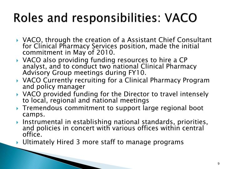 Roles and responsibilities: VACO