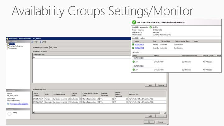 Availability Groups Settings/Monitor