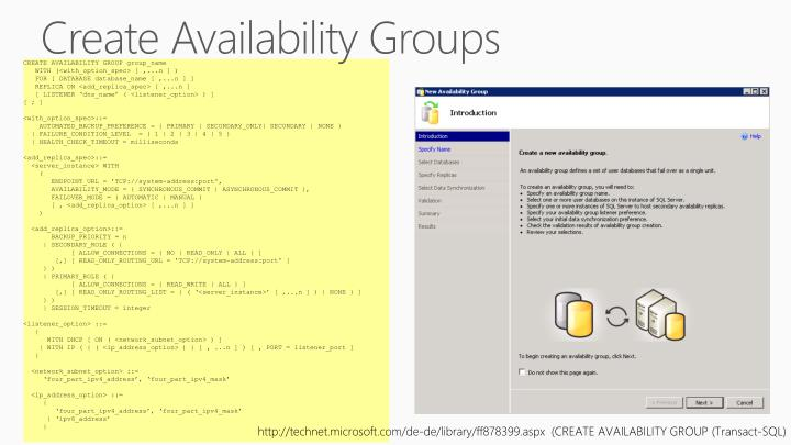 Create Availability Groups