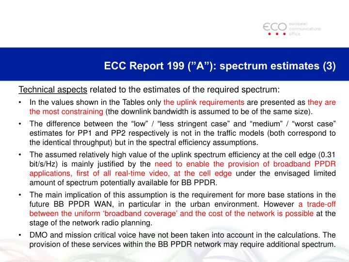 "ECC Report 199 (""A""): spectrum estimates"