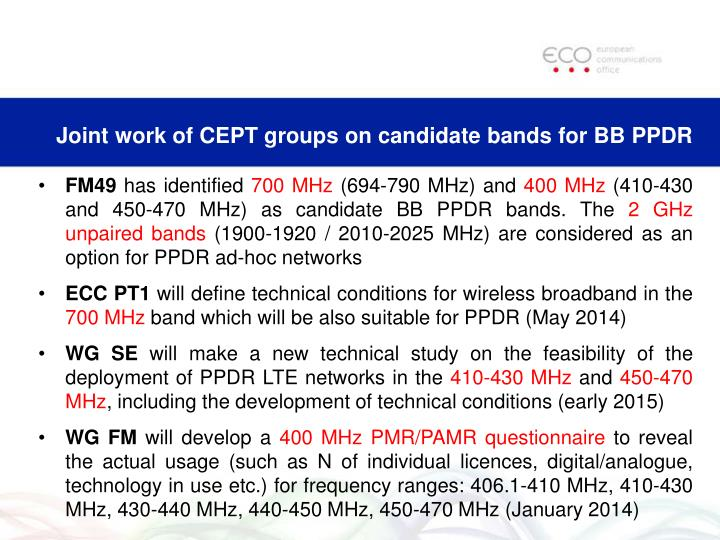 Joint work of CEPT groups on candidate bands for BB PPDR