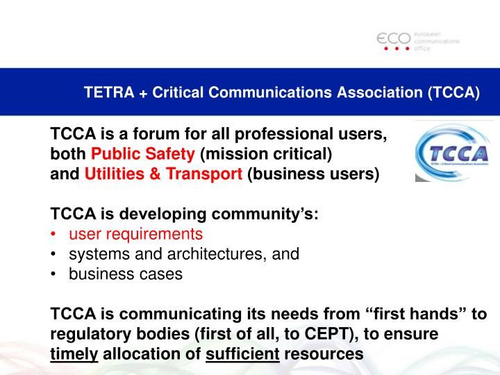 TETRA + Critical Communications Association (TCCA)