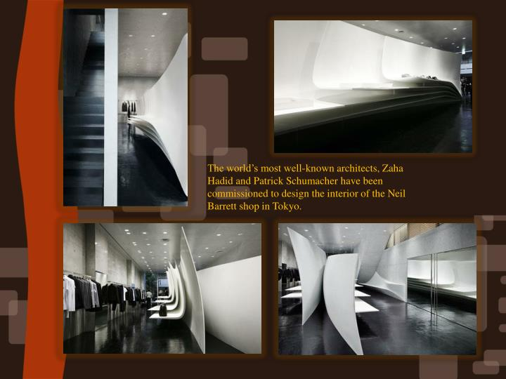 The world's most well-known architects, Zaha Hadid and Patrick Schumacher have been commissioned to design the interior of the Neil Barrett shop in Tokyo.