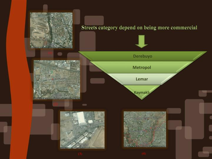 Streets category depend on being more commercial