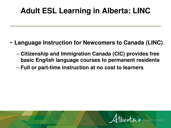 Adult ESL Learning in Alberta: LINC