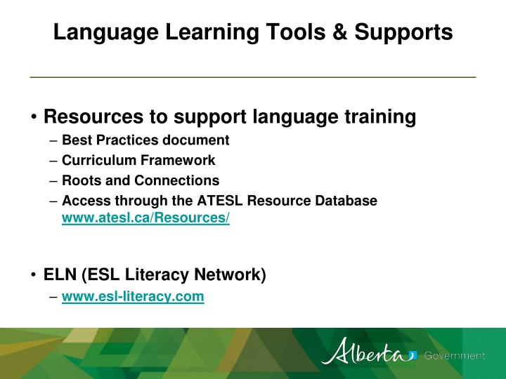 Language Learning Tools & Supports
