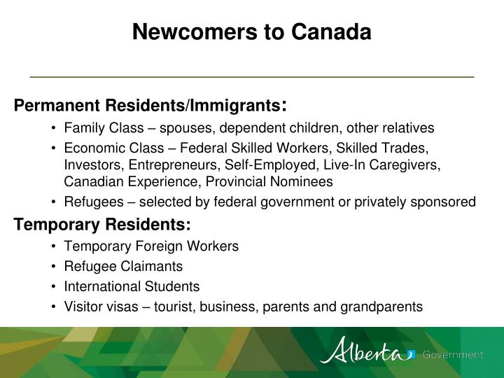 Newcomers to Canada