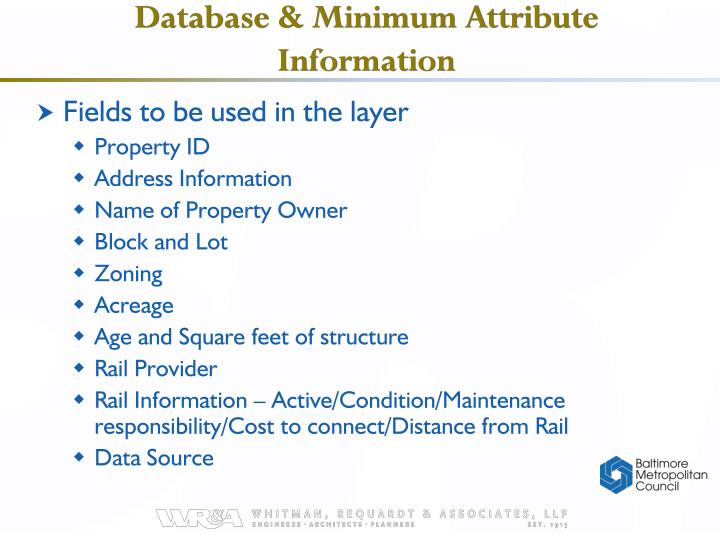 Database & Minimum Attribute Information