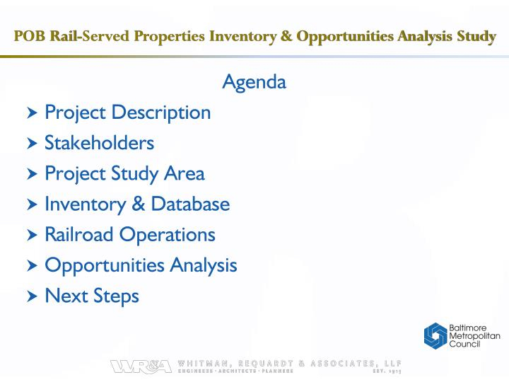 Pob rail served properties inventory opportunities analysis study