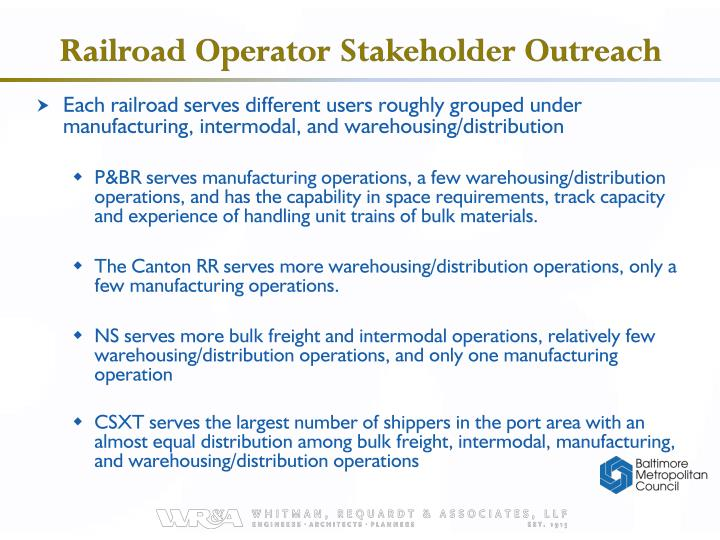 Railroad Operator Stakeholder Outreach