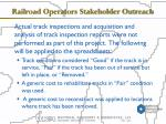 railroad operators stakeholder outreach