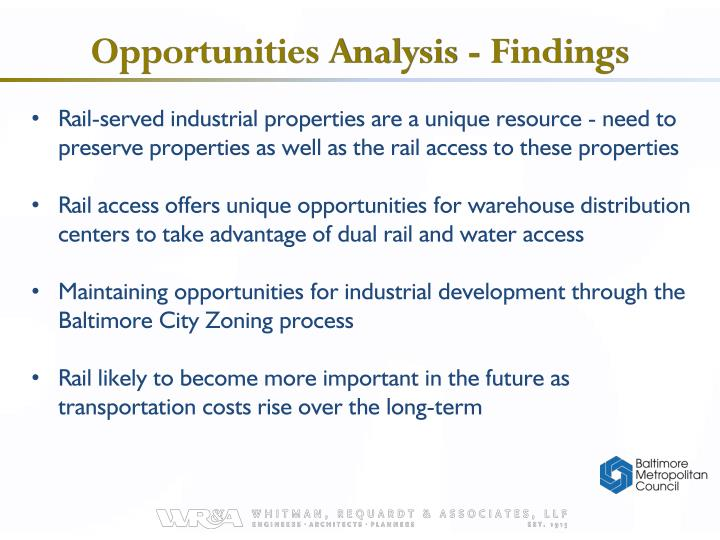Opportunities Analysis - Findings