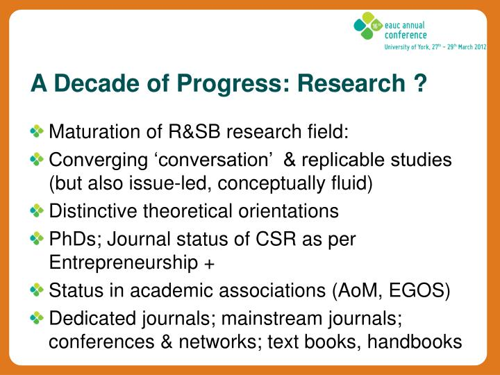 Maturation of R&SB research field: