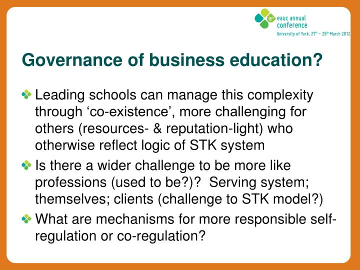 Governance of business education?