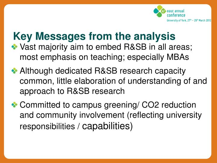 Key Messages from the analysis