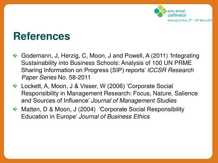 Godemann, J, Herzig, C, Moon, J and Powell, A (2011)