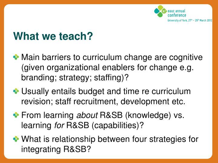 What we teach?