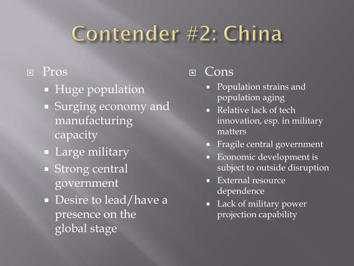 Contender #2: China