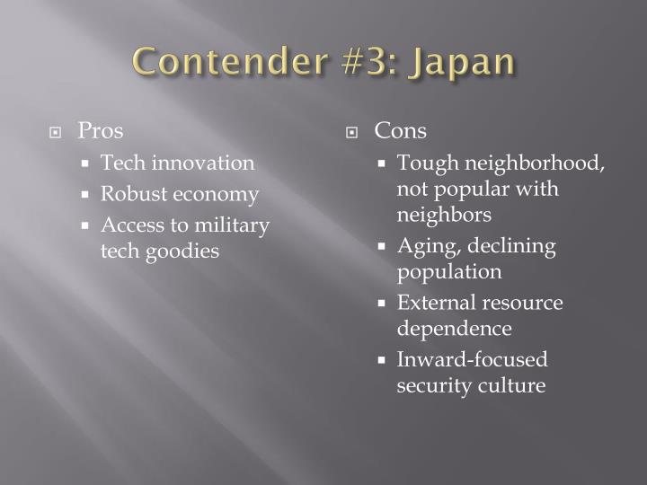 Contender #3: Japan