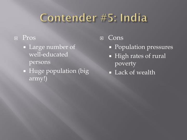 Contender #5: India
