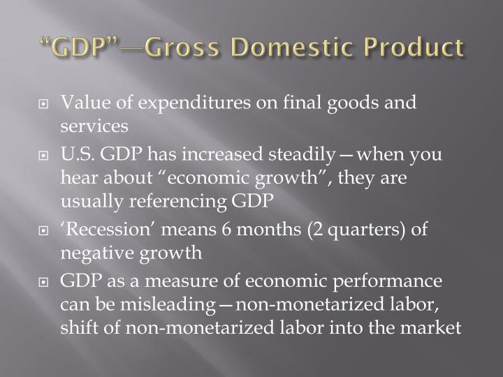 """GDP""—Gross Domestic Product"