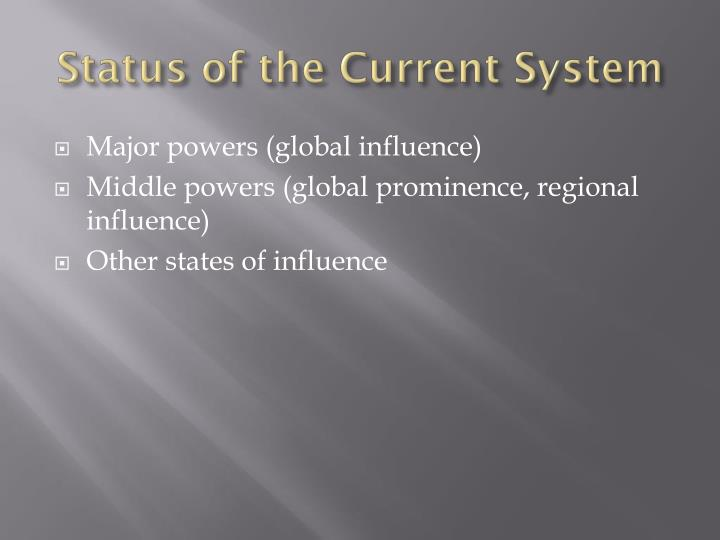 Status of the Current System
