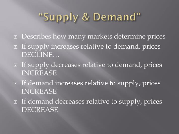 """Supply & Demand"""