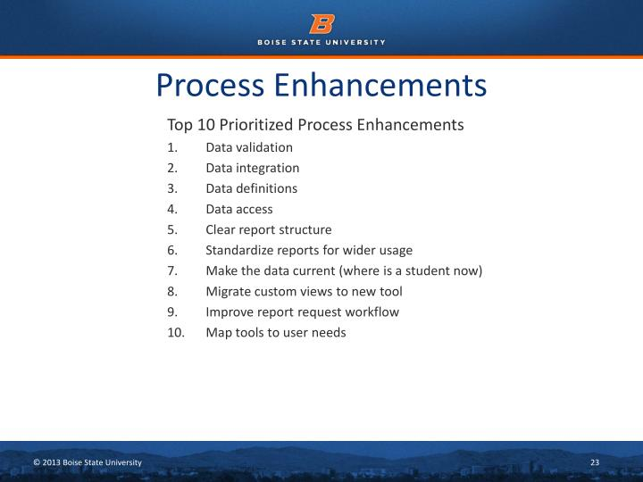 Process Enhancements