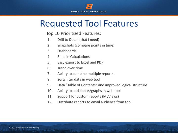 Requested Tool Features