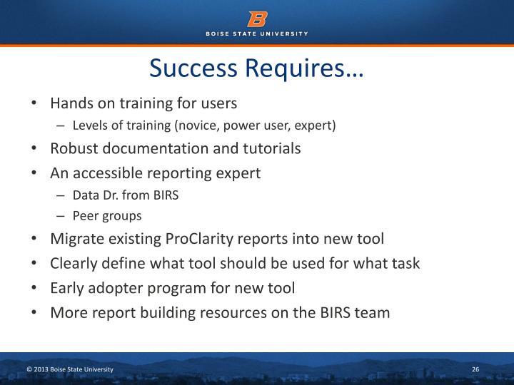 Success Requires…