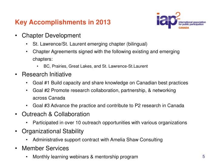Key Accomplishments in 2013
