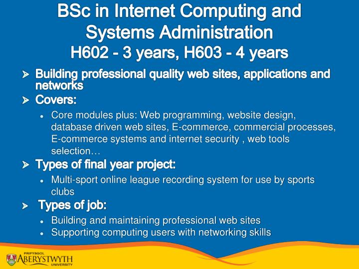 BSc in Internet Computing and Systems Administration