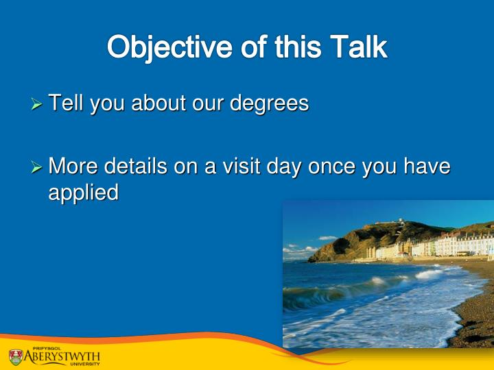 Objective of this talk
