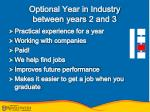optional year in industry between years 2 and 3