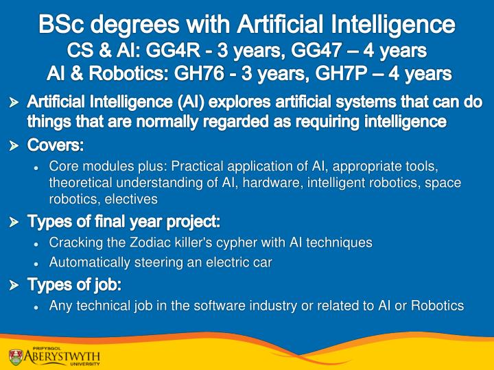 BSc degrees with Artificial Intelligence