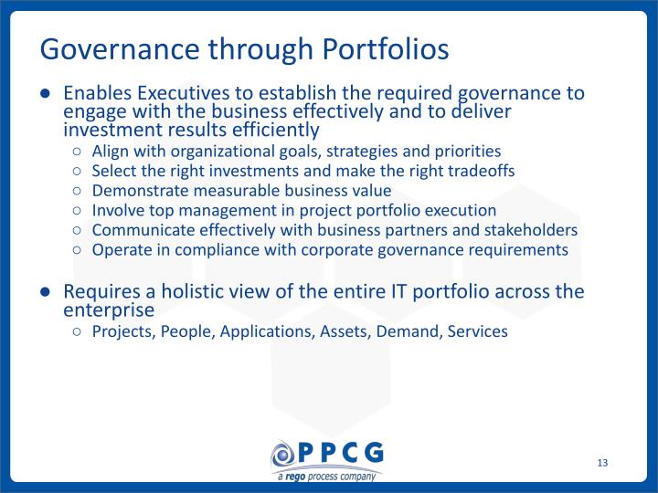 Governance through Portfolios