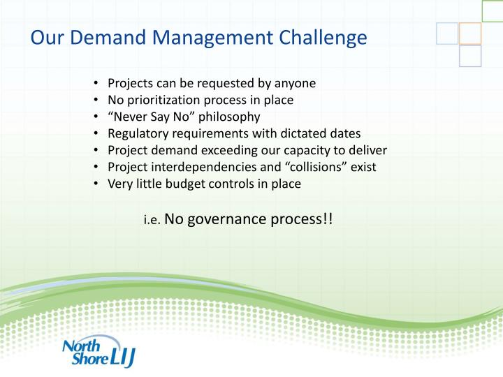 Our Demand Management Challenge