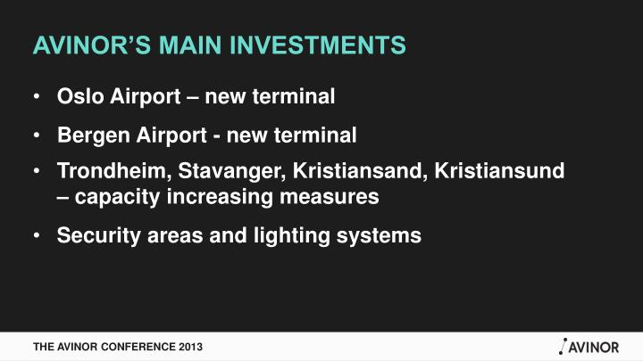 AVINOR'S MAIN INVESTMENTS