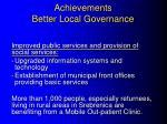 achievements better local governance
